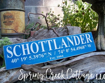 Signs, Custom, Coordinates, Latitude, Longitude, Rustic, Coastal Decor, Beach, Nautical, Handpainted, Housewarming Gifts