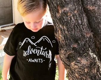 Adventure awaits shirt, adventure shirt, mountain shirt, hiking shirt, kids shirt, wanderlust shirt, toddler shirt, camping shirt, camper