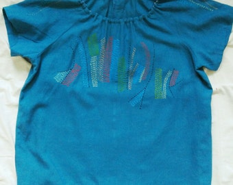 Hand-Embroidered and Sewn, Deep Teal Linen / Rayon Blend, Tunic Top *One-of-a-Kind* Large. Beautiful Comfort