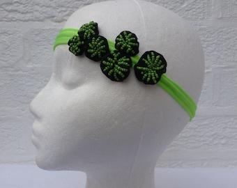 Festival headband hippie hair accessory green teens fashion headband handmade ecofriendly embellished fashion gift hair jewellery girls.