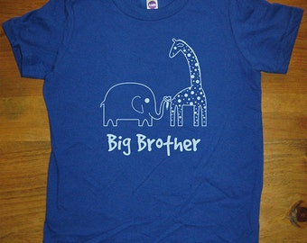 Big Brother Shirt - 6 Colors Available - Kids Big Brother Elephant and Giraffe T shirt Sizes 2T, 4T, 6, 8, 10, 12 - Gift Friendly