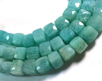 """AAA quality amazonite faceted 3D cube briolettes loose gemstone beads 8""""inch strand"""