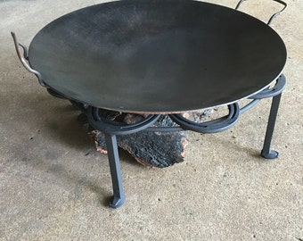"""Outdoor Firepit Stand for discata (aka cowboy wok), heavy duty round metal stand 22.5"""" diameter"""