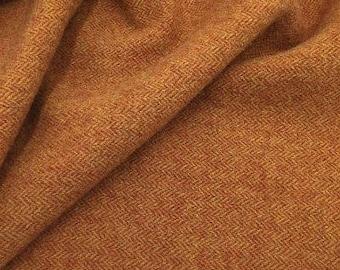 Orange Gold Herringbone -  Felted Wool Fabric Yard in 100% Wool in a Fat Eighth or Fat Quarter Yard