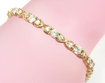 Rose Gold Plated Sterling Silver Bracelet with Cubic Zirconia CZ 13.4 Grams 7 1/4 inches