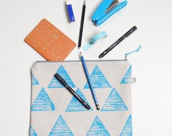 Large Zipper Pouch, Travel Organiser, Large Pencil case,Hand printed, Pencil Case, Large pencil Case