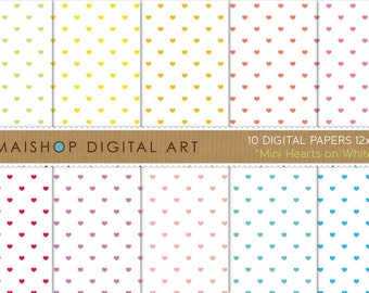 Valentine's Digital Paper 'Mini Hearts on White' Scrapbook Papers for Scrapbooking, Card Making, Paper Crafts, Printable Wrapping Paper...