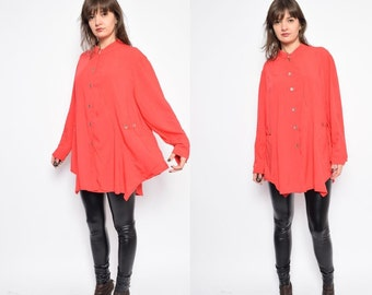 Vintage 80's Red Button Oversized Shirt / Long Sleeve Red Blouse