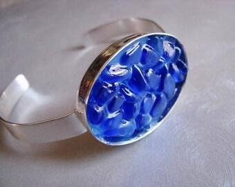 Cuff Bracelet - Sea Glass Bracelet - Blue Sea Glass - Beach Glass Jewelry -Ocean Jewelry Gifts of the Sea- Authentic  Genuine Pure Sea Glass