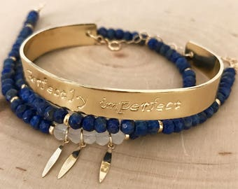 """Blue Lapis Lazuli Gemstone and Gold Hand-Stamped Cuff Wrap Bracelet. Spiritual meaning. Healing bracelet. """"Perfectly imperfect"""""""