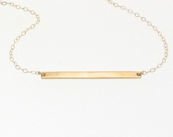 Bar Necklace, Stick Necklace, 14K Gold Thin Horizontal Bar, Yellow, White or Rose Gold, Celebrity Style - Cameron Diaz