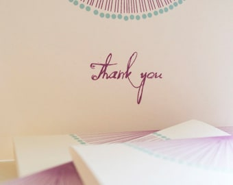 Sun Burst Bright and Bold Thank you Note Set