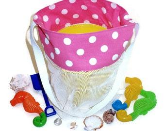 Girls Sand Toy Bag, Mesh Beach Bag, Vacation Bag, Pink Polka Dot, Beach Tote Bag, Pool Toy Bag, Bath Toy Bag, Birthday Gift For Girl