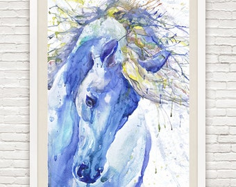 Horse art, equine painting, watercolor, horse print, watercolour animal, equine decor, equestrian gifts, animal art, horse head, horse gifts