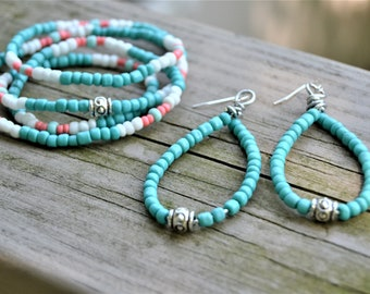 TURQUOISE  SEEDBEAD WRAP Bracelet with Large Oval Dangling Earrings Hippie Jewelry Set