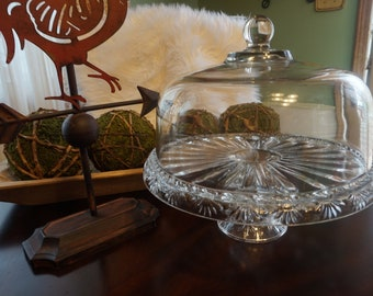 Vintage, Crystal Cake Stand with Glass Dome