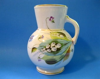 Aesthetic Period Jug, Hand Painted with Lilies-of-the Valleys and Violets, Trimmed with Gold