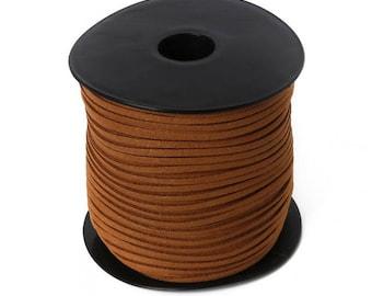 5 meters of 3mm flat cord caramel brown suede cord