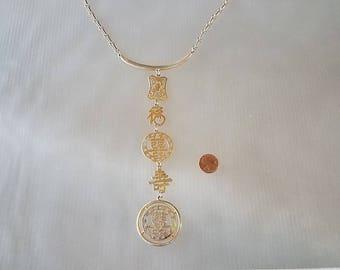 Vintage Asian Inspired Gold Drop Multiple Link Pendant Necklace