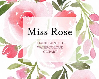 Watercolor Flower Clipart - Miss Rose - Hand Painted Floral Graphic Elements