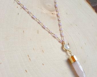 Purple Swarovski and Rose Quartz Necklace