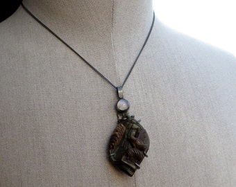 Succor Creek Jasper Carved Bird Moonstone Black Silver Necklace