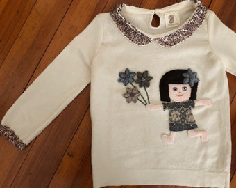 Felted Tunic of Girl Holding Flowers