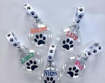 Paw Print Ornament   Dog Ornament   Pet Ornament   Personalized Pet Ornament   Pet Lover   Cat Mom  Custom Pet Gift   Dog Mom   Pet Ribbon