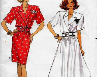 Butterick 6411          Misses Straight or Full Gathered Dress      Size 12,14,16      Uncut
