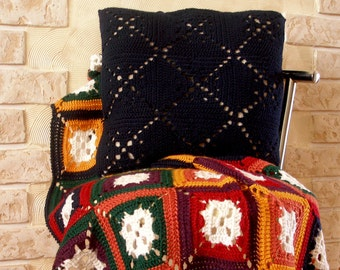 Crochet blanket afghan and 16'' decorative pillow case gift idea Valentines day for her mom girl