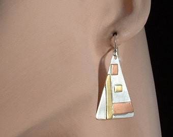 Sterling silver, brass and copper dangle earrings ,dangle ,statement, gift