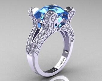 French Vintage 14K White Gold 3.0 CT Blue Topaz Diamond Pisces Wedding Ring Engagement Ring Y228-14KWGDBT