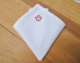 Canadian flag pocket square hand embroidered maple leaf red hand embroidery father of the bride groom groomsmen gift wedding favor newcomers