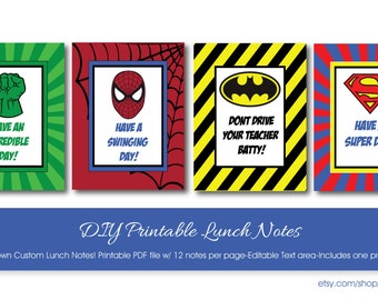 Super Heroes Lunch Box Notes - Lunch Box Note with Editable Text-Instant Download and Editable File - Personalize at home with Adobe Reader-