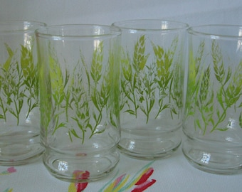 Vintage 1970's Wheat Juice Glasses, Green Wheat Design, Small 6 ounce Tumblers, 70's Retro Drinking Cups, Kitchen Glasses ~