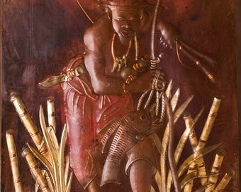 """African Copper Art Fisherman In the Reeds With His Catch - Congo 15.75"""" X 22.75"""""""