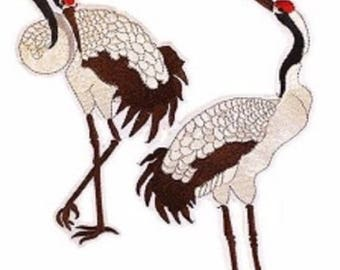 Couple bird crane Stork * 18 x 23 cm * large patch embroidered patch Thermo - Applique iron-on