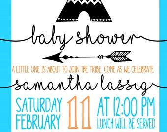 Baby Shower Invitation / baby boy shower invite / adventure baby shower invitation / digital invitation / tribe baby shower invite