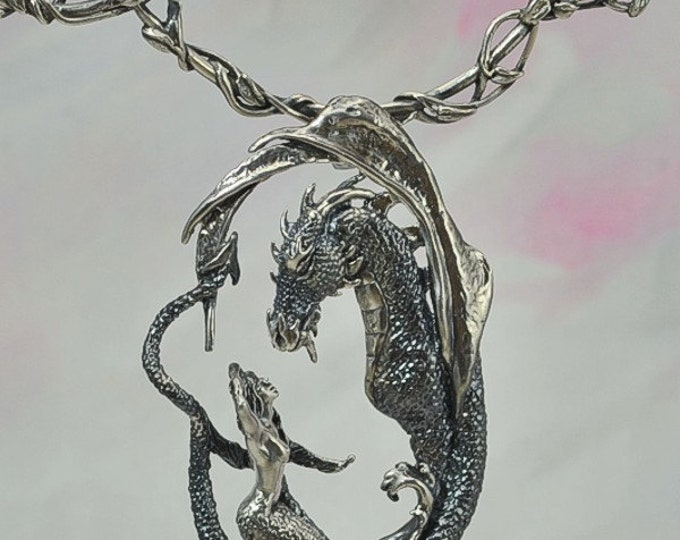 """The """"Enchantment"""" Dragon & Mermaid Pendant with Neck Wire Set in Sterling Silver"""