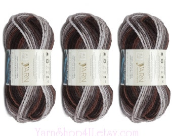 ASHES 3 Pack Bulk Buy! Bulky Yarn. All Things You Premium Bulky Acrylic Yarn. Grey & Brown Ombre Yarn. Same as Charisma Ashes. 3 skeins 6994
