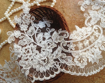 Beautiful Alencon Lace Trim in Ivory for Veils, Bridal, Gloves, Costume or Jewelry Design