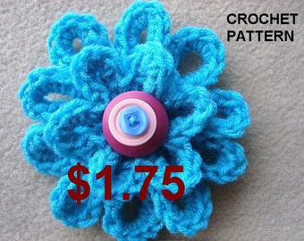 Crochet Flower Applique, CROCHET PATTERN, #692, Turquoise Loopy Flower, beginner easy for hats, barrettes, headbands, hair pins, bags