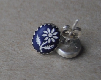 Blue and White Vintage Intaglio Flower Cabochons set in Sterling Silver