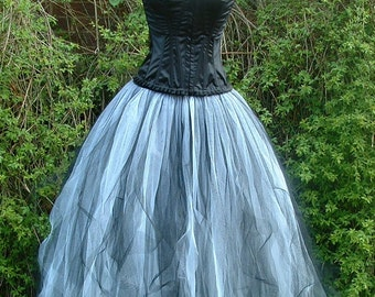 tutu skirt long white black goth weddings victorian prom dress flare-free shredded adult ballet gypsy    US size 6 8 10 12 16   S M L XL