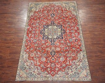 Persian 7X11 Antique Isfahan Area Rug 1940's Hand-Knotted Oriental Wool Carpet (7.1 x 11.6)