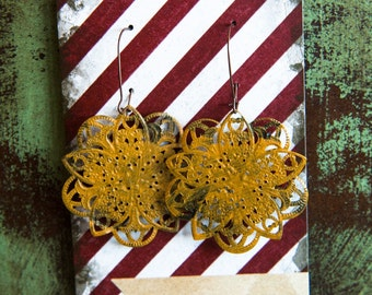 The DELLA- Mustard Distressed AMAZING Lightweight Metal Filigree Earrings- Anthropologie Inspired- Gift
