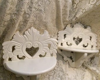 Shabby Cottage Chic Decor Victorian Antique Look Wooden Carved Heart Floral Motif Accent Shelf Setof 2 With Scalloping