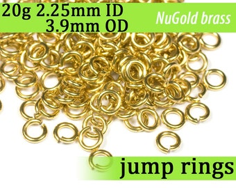 20g 2.25 mm ID 3.9 mm OD NuGold brass jump rings -- 20g2.25 open jumprings