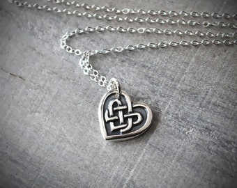 Silver Celtic Heart Necklace - Celtic Knot Heart Pendant - Sterling Silver Chain Handcrafted Jewelry