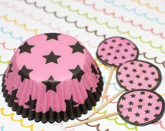 Pink/Dark Brown Stars Cupcake Set